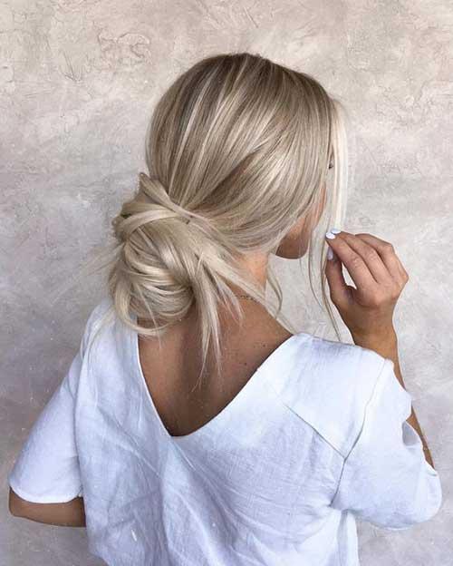 Blonde Low Messy Bun Hairstyles 2019-6